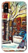Face Off Street Hockey At The Corner Dep Snow Falling Streets Of Montreal Quebec Artist C Spandau IPhone Case
