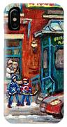 Fairmount Bagel Bakery Laneway Hockey Art Depanneur Winter Scenes C Spandau Montreal Landmark Stores IPhone Case
