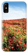 Field Full With Red  Poppy Anemone Flowers. IPhone Case by Michalakis Ppalis