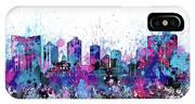 Fort Worth Skyline Color Splatter IPhone Case