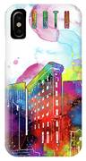 Fort Worth Skyline Panorama Watercolor 2 IPhone Case