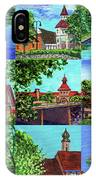 Frankenmuth Downtown Michigan Painting Collage II IPhone Case