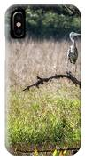 Great Blue Heron On A Snag IPhone Case