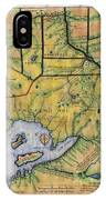 Historical Map Hand Painted Lake Superior Norhern Minnesota Boundary Waters Captain Carver IPhone Case