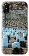 Holiday Wreaths At National Cemetery IPhone Case by Tom Singleton