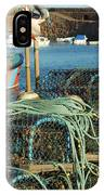 lobster pots and trawlers at Dunbar harbour IPhone Case