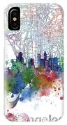 Los Angeles Skyline Map Watercolor 3 IPhone Case