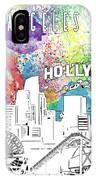 Los Angeles Skyline Panorama Watercolor IPhone Case