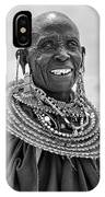 Maasai Woman In Black And White IPhone Case