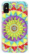 Mandala Of Many Colors On Turquoise IPhone Case