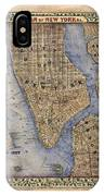 Manhattan New York Antique Map Brooklyn Hand Painted IPhone Case
