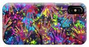 Multicoloured Powder Hands Panoramic IPhone X Case