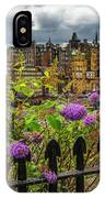 Overlooking The Train Station In Edinburgh IPhone Case