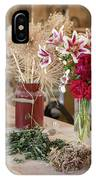 Rustic Wooden Table With Various Herbs And Flowers IPhone Case
