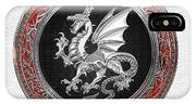 Silver Winged Norse Dragon - Icelandic Viking Landvaettir On Black And Silver Medallion Over White L IPhone Case