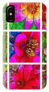 Stained Glass Pink Flower Collage  IPhone Case