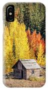 Tiny Shelter Beside Aspens IPhone Case by Denise Bush