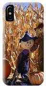 Two Cute Scarecrows With Pumpkins In The Dry Corn Field IPhone Case