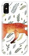 Watercolor Cute Running Fox With Green IPhone X Case