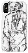 Woman In A Hat Drawing IPhone Case