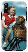 1940s 1950s Smiling Teen Girl Riding IPhone X Tough Case