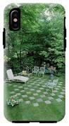 A Garden With Checkered Pavement IPhone X Tough Case