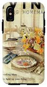 A Table Setting With A Floral Centerpiece IPhone X Tough Case