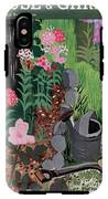 A Watering Can And A Shovel By A Flower Bed IPhone X Tough Case