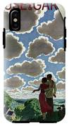 A Young Couple And Their Dogs On A Hilltop IPhone X Tough Case