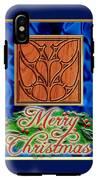 Blue Satin Merry Christmas IPhone X Tough Case