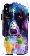 Colorful English Springer Setter Spaniel Dog Portrait Art IPhone X Tough Case