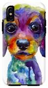 Colorful Whimsical Daschund Dog Puppy Art IPhone X Tough Case