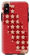 Cross Through Sparkle Stars On Red Silken Base IPhone X Tough Case