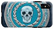 Crystal Human Skull On Blue IPhone X Tough Case