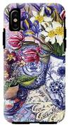 Daffodils Tulips And Iris In A Jacobean Blue And White Jug With Sanderson Fabric And Primroses IPhone X Tough Case