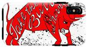Drawing Red Angry Bull On The Grunge IPhone X Tough Case