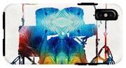 Drum Set Art - Color Fusion Drums - By Sharon Cummings IPhone X Tough Case