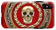Golden Human Skull On Red   IPhone X Tough Case