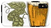 Hand Drawn Beer Glass With Hops Plant IPhone X Tough Case