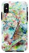 Jerry Garcia Playing The Guitar Watercolor Portrait.2 IPhone X Tough Case