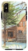 Log Cabin In The Woods Watercolor Portrait IPhone X Tough Case