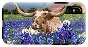 Longhorn In Bluebonnets IPhone X Tough Case
