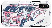 Love Bus Vector Poster. Hippie Car IPhone X Tough Case