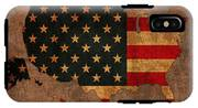 Map Of America United States Usa With Flag Art On Distressed Worn Canvas IPhone X Tough Case