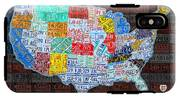 Map Of The United States In Vintage License Plates On American Flag IPhone X Tough Case