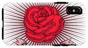 One Red Rose With Thorns On White IPhone X Tough Case