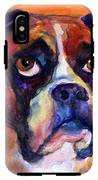 pensive Boxer Dog pop art painting IPhone X Tough Case