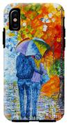 Sharing Love On A Rainy Evening Original Palette Knife Painting IPhone X Tough Case