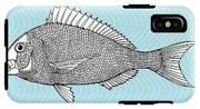Stylized Fish. Sea Fish. Dorado. Black IPhone X Tough Case