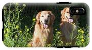 Two Golden Retrievers Sitting Together IPhone X Tough Case